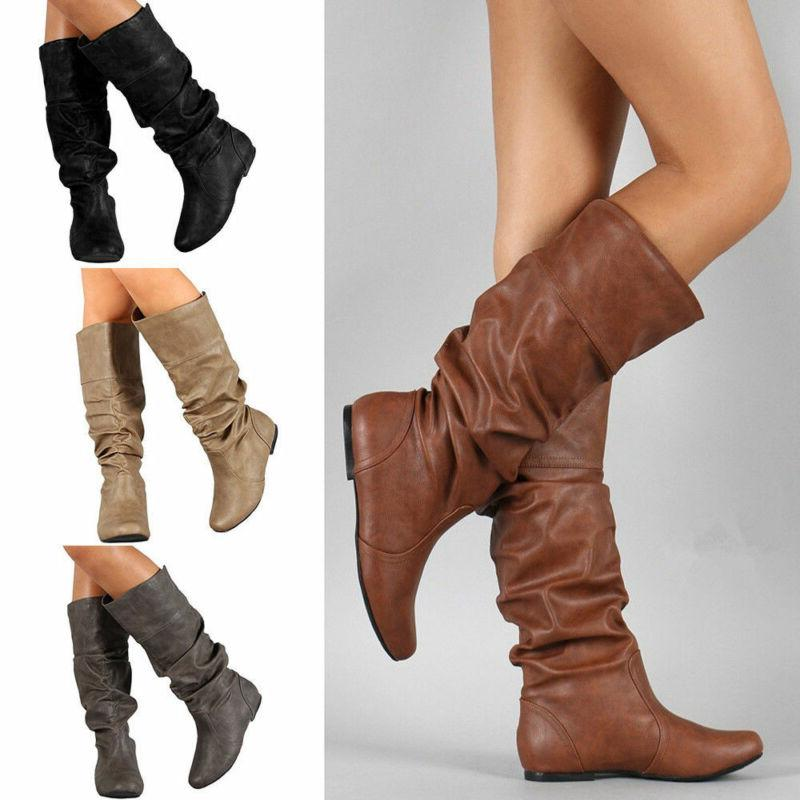Women Ladies Mid The Knee Stretch Calf Boots