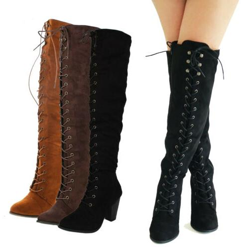 Women Chunky Over The Knee High Riding Boots Lace up Corset