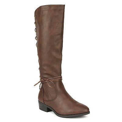 DREAM Women Low Heel Lace High Riding Combat Boots