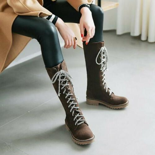 Women Calf Knight Boots Low Flats Lace Up Combat Shoes