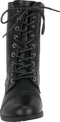 Cambridge Select Women's 90s Lace-Up Classic Chunky Sole Combat Boot