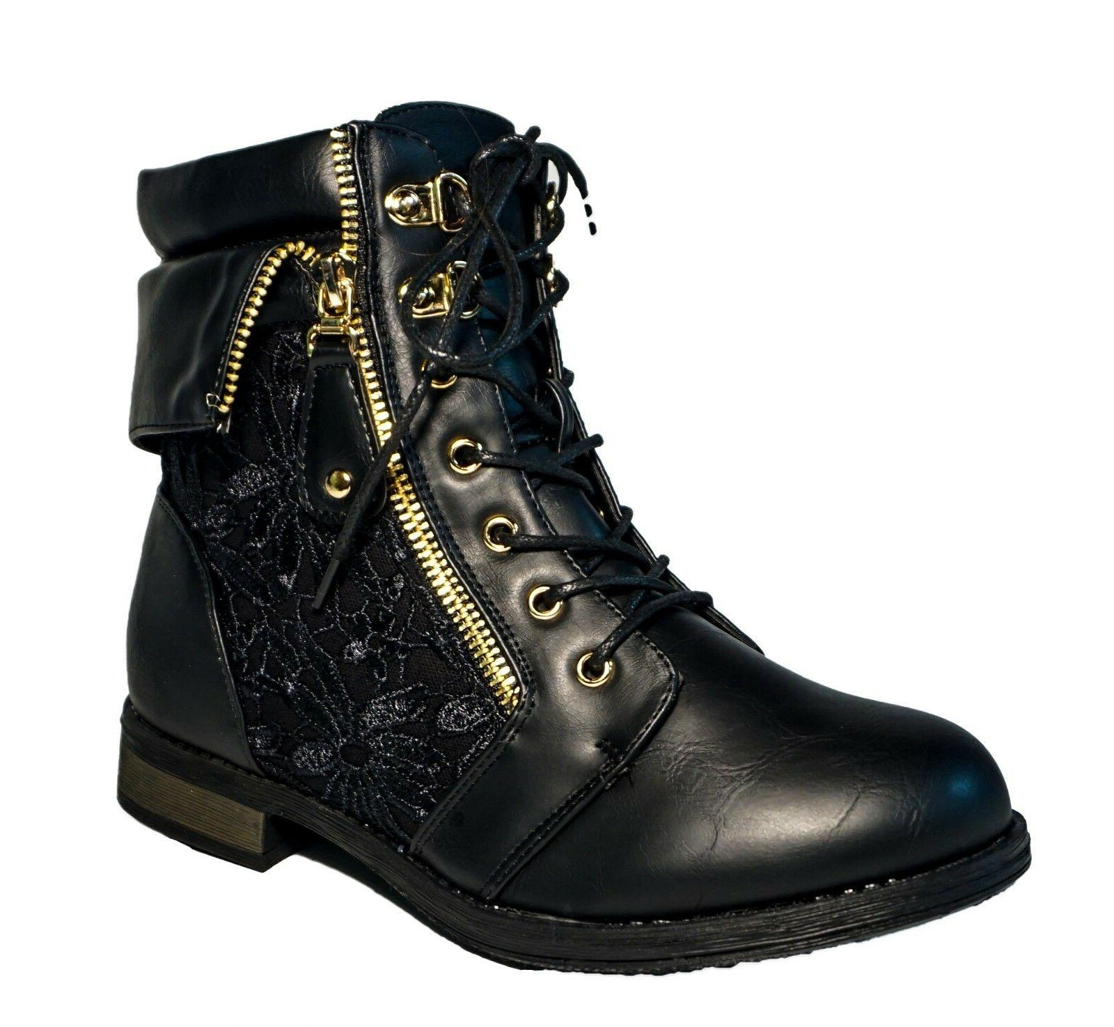 Women's Military Combat Mid Lace Round Floral