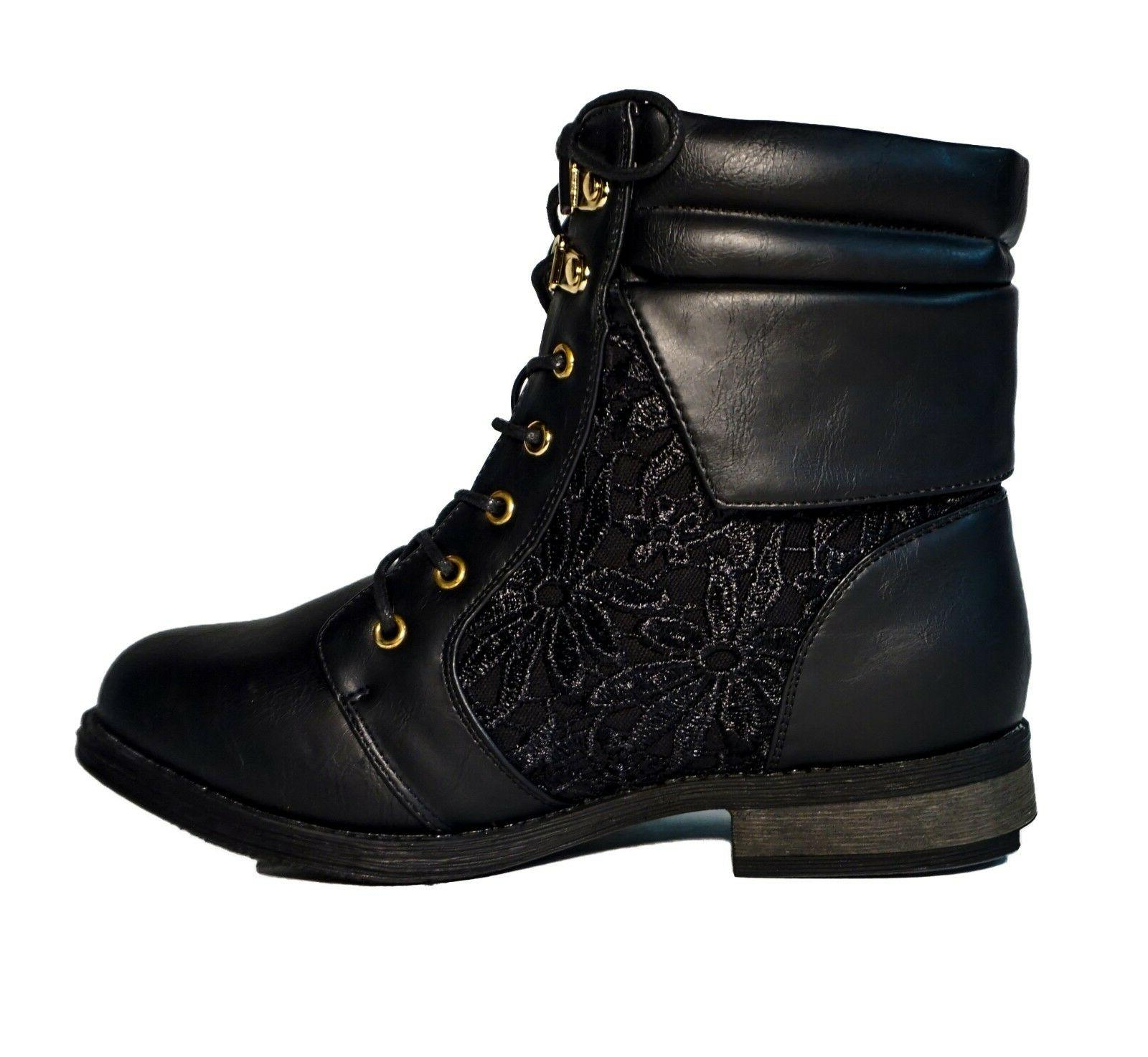Women's Boots Military Mid Lace Round Floral