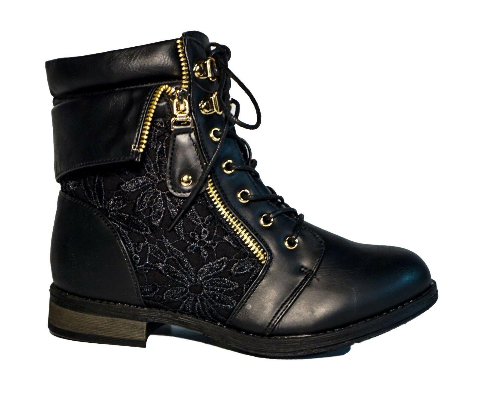 Women's Military Mid Lace Floral