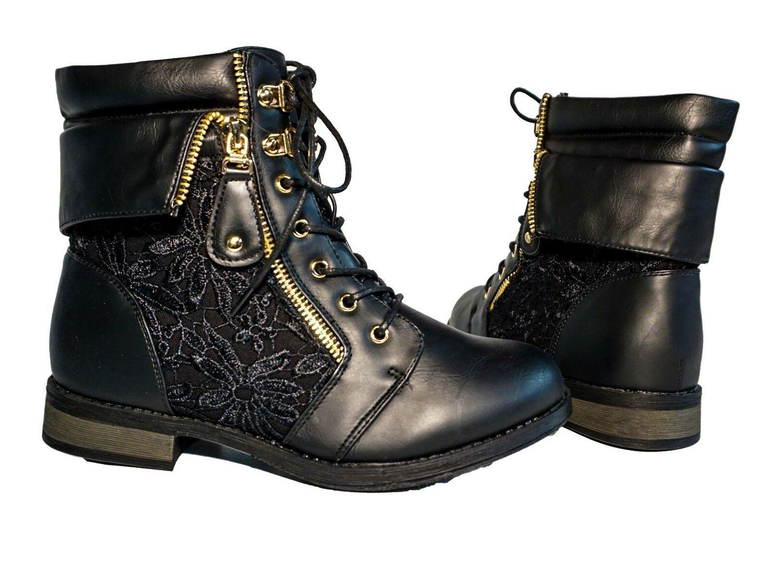 Military Mid Lace Up Round Floral
