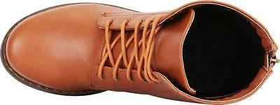 Cambridge Women's Lace-Up Low Block Heel Combat Boot