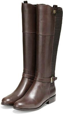 Cole Haan Women's Galina Leather Side-Zip Riding Boots Java