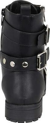 Cambridge Women's Lace-Up Moto Strappy Studded Buckle Combat