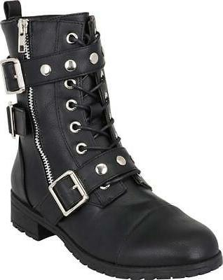 women s lace up moto strappy studded