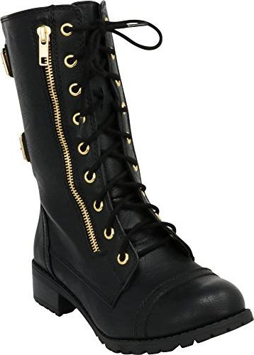 women s lace up round toe buckle