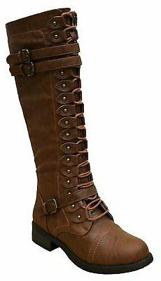 Cambridge Select Women's Lace-Up Strappy Knee High Combat St