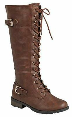 Forever Link Women's Mango-27 BROWN Strappy Lace-up Knee Hig