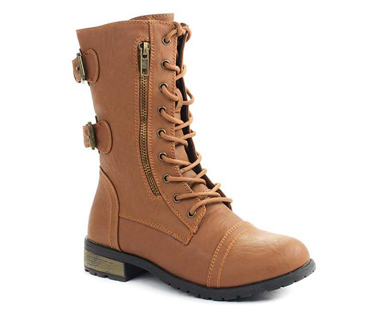 Women's Mid Calf Zip Combat Boots Lace Up Double Buckle Stra