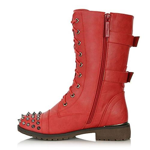 DailyShoes Women's up Buckle Combat Boots Mid Knee Credit Studded Booties, Red 10