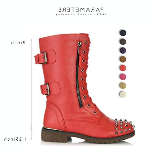 DailyShoes Women's Military Lace up Mid Knee High Credit Studded Red 10 B US