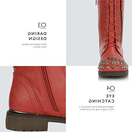 DailyShoes Lace up Buckle Combat Mid Knee Exclusive Credit Studded Red 10