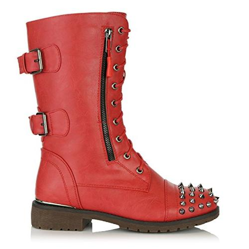 DailyShoes up Buckle Combat Mid Knee Exclusive Credit Pocket Front Studded Red 10 B US