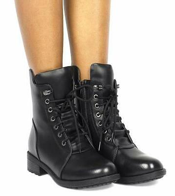 DREAM Women's Black Mid Combat Boots Size 8 M