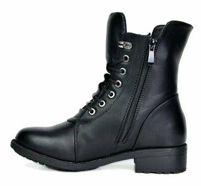 DREAM PAIRS Black Mid Calf Military Combat Boots M