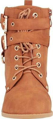 Buckle Lace-Up Moto Boot