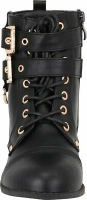 Cambridge Select Women's Buckle Lace-Up Moto Boot