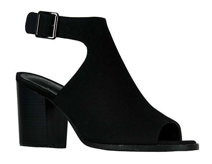 women s strappy cutout ankle bootie black