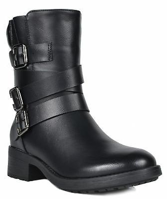 DREAM PAIRS Women's Faux Mid Riding Military Work Boots