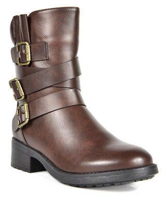 DREAM Women's Strappy Faux Fur Mid Riding Work Boots