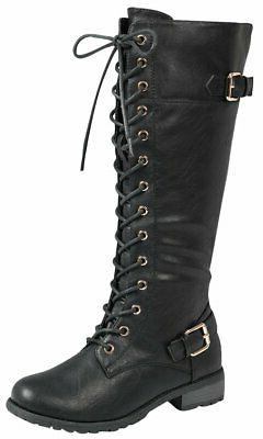 Forever Link Strappy Lace-Up Knee High Combat Stacked