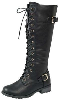 Forever Women's Lace-Up Knee Stacked