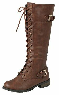 Forever Link Women's Lace-Up Knee Stacked Boot