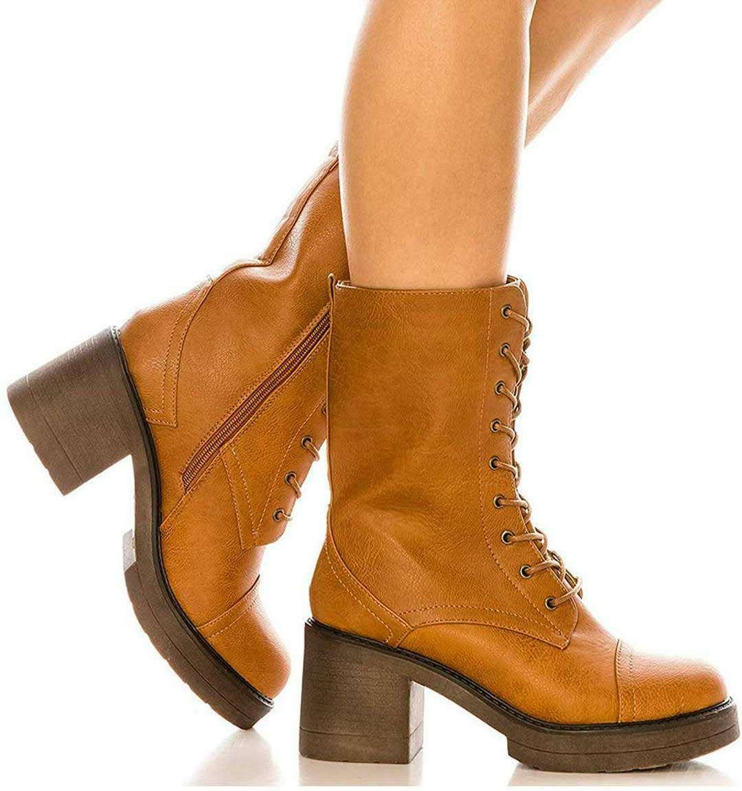 Women's Lace Mid Boots Chunky Heel New