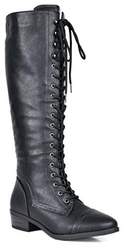 DREAM PAIRS Women's Vine Black Faux Fur Knee High Riding Com