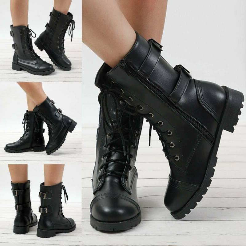 Womens Ladies Military Boots Army Combat Ankle Lace Up Flat
