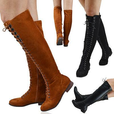 womens knee high lace up combat boots