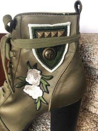 Steve Womens Combat Boots Olive Floral Embroidery Size 8.5 NEW