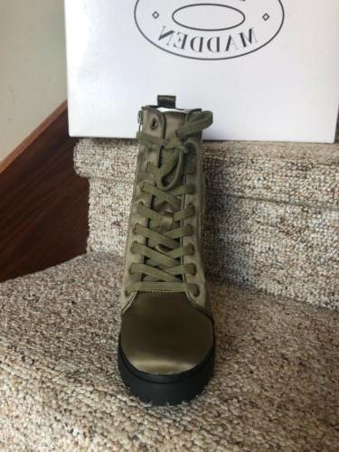 Steve Combat Boots Olive Floral Embroidery 8.5 NEW
