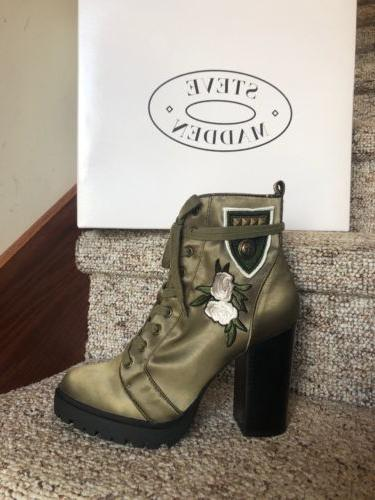 womens laurie combat boots olive floral embroidery