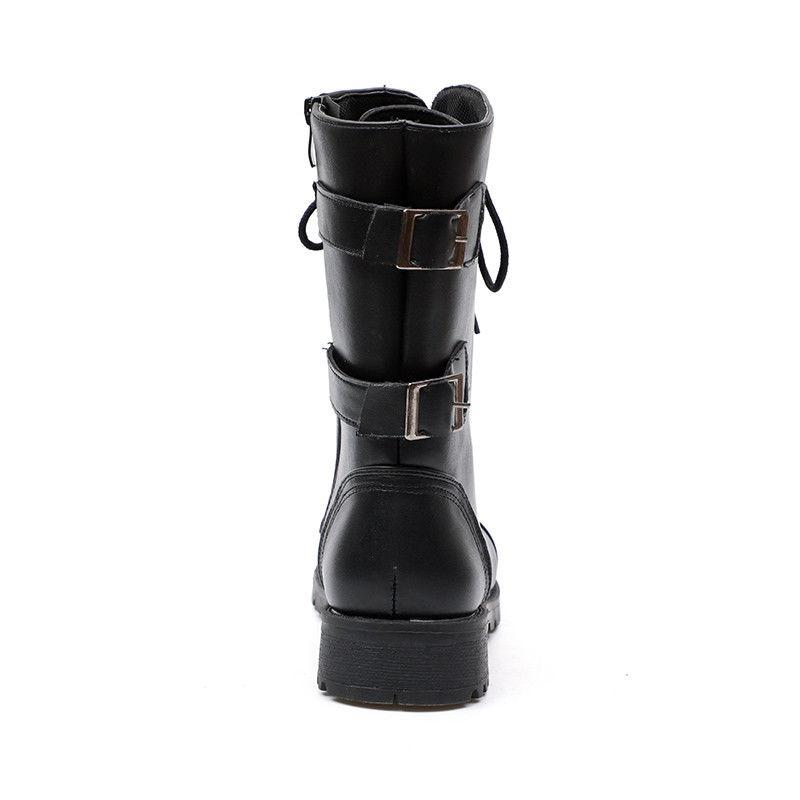 Womens Leather Up Ankle Biker Boots Winter Calf Shoes New