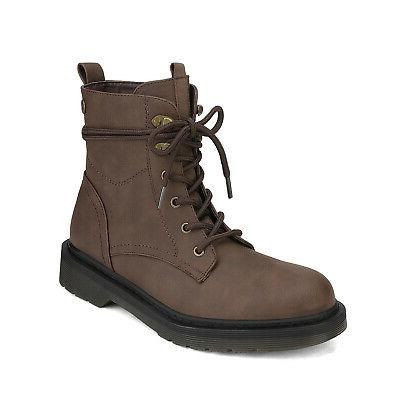 DREAM Womens Heel Combat Booties Up Boots