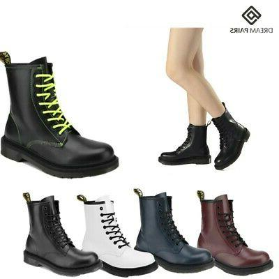 womens martin military combat ankle boots lace