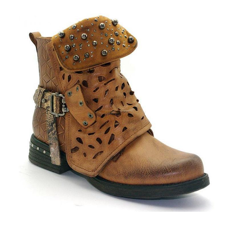 Women Doc Ankle Boots Low Heel Martin Shoes