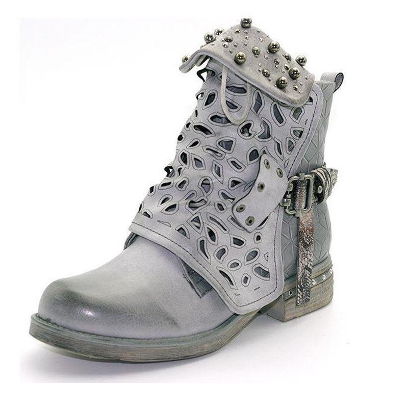 Women Doc Ankle Boots Low Goth Martin Shoes