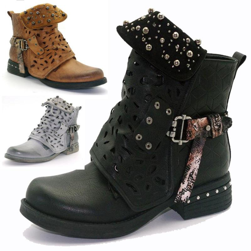 b17cc3197 Womens Rivet Goth Zip Combat Ankle Boots Hollow Tube Buckle
