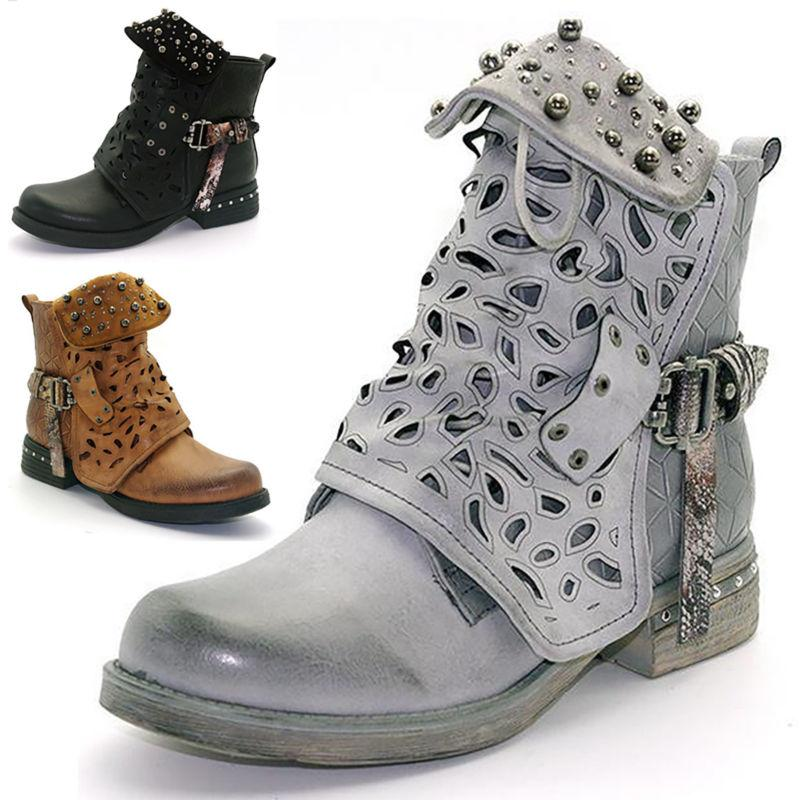 women studded doc combat ankle boots hollow