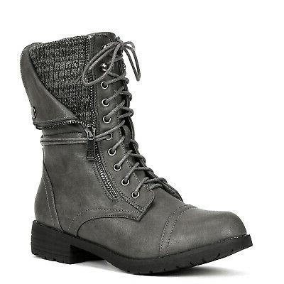DREAM Women's Round Toe Mid Calf Lace Up Zip Riding