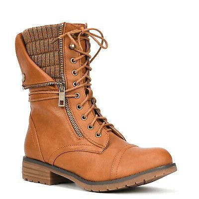 Round Toe Lace Up Zip Riding
