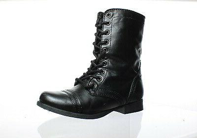 womens troopa black leather combat boots size