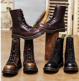 Lace Up Motorcycle Boots Punk Rock Biker Leather Military Co