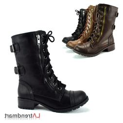Ladies Military Combat Mid Calf Boots Lace Up Zipper Soda Do